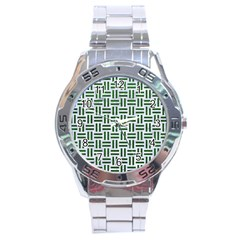 Woven1 White Marble & Green Leather (r) Stainless Steel Analogue Watch