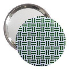 Woven1 White Marble & Green Leather (r) 3  Handbag Mirrors