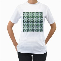 Woven1 White Marble & Green Leather (r) Women s T Shirt (white)