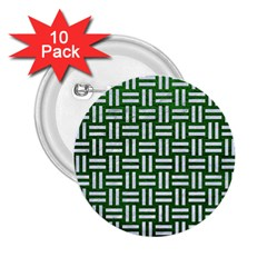 Woven1 White Marble & Green Leather 2 25  Buttons (10 Pack)