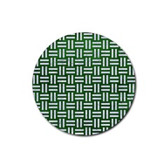 Woven1 White Marble & Green Leather Rubber Round Coaster (4 Pack)