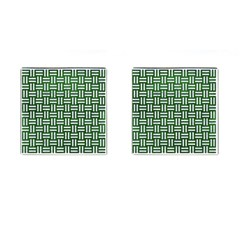 Woven1 White Marble & Green Leather Cufflinks (square)
