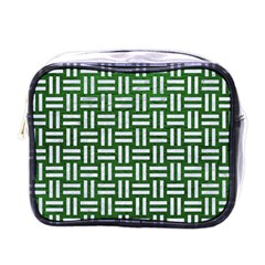 Woven1 White Marble & Green Leather Mini Toiletries Bags by trendistuff