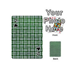 Woven1 White Marble & Green Leather Playing Cards 54 (mini)
