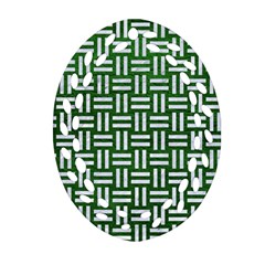 Woven1 White Marble & Green Leather Oval Filigree Ornament (two Sides)