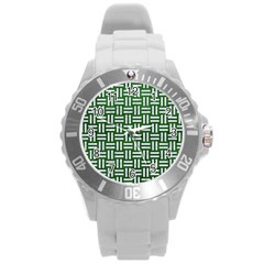 Woven1 White Marble & Green Leather Round Plastic Sport Watch (l)