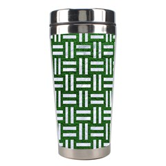 Woven1 White Marble & Green Leather Stainless Steel Travel Tumblers