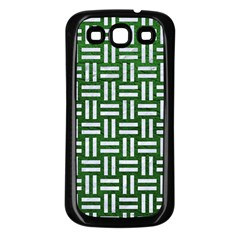 Woven1 White Marble & Green Leather Samsung Galaxy S3 Back Case (black)