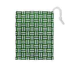 Woven1 White Marble & Green Leather Drawstring Pouches (large)