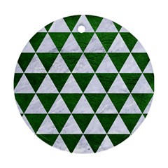 Triangle3 White Marble & Green Leather Ornament (round)