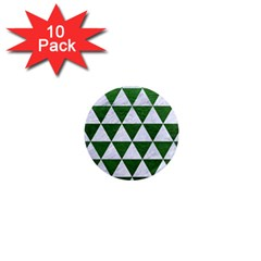 Triangle3 White Marble & Green Leather 1  Mini Magnet (10 Pack)