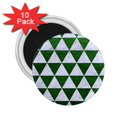 Triangle3 White Marble & Green Leather 2 25  Magnets (10 Pack)