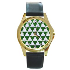 Triangle3 White Marble & Green Leather Round Gold Metal Watch