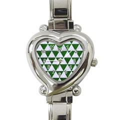 Triangle3 White Marble & Green Leather Heart Italian Charm Watch