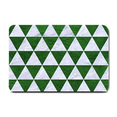 Triangle3 White Marble & Green Leather Small Doormat