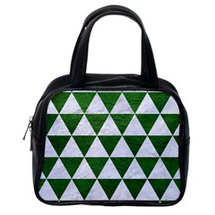 Triangle3 White Marble & Green Leather Classic Handbags (one Side)