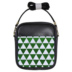 Triangle3 White Marble & Green Leather Girls Sling Bags