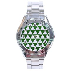Triangle3 White Marble & Green Leather Stainless Steel Analogue Watch