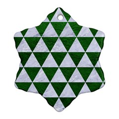 Triangle3 White Marble & Green Leather Snowflake Ornament (two Sides)