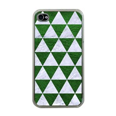Triangle3 White Marble & Green Leather Apple Iphone 4 Case (clear)