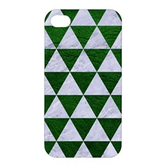 Triangle3 White Marble & Green Leather Apple Iphone 4/4s Hardshell Case