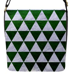 Triangle3 White Marble & Green Leather Flap Messenger Bag (s)