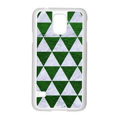 Triangle3 White Marble & Green Leather Samsung Galaxy S5 Case (white)