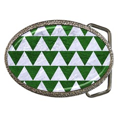 Triangle2 White Marble & Green Leather Belt Buckles