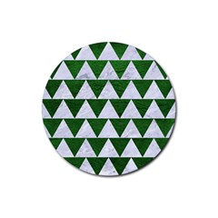 Triangle2 White Marble & Green Leather Rubber Round Coaster (4 Pack)