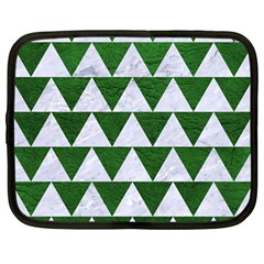 Triangle2 White Marble & Green Leather Netbook Case (large)