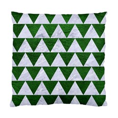 Triangle2 White Marble & Green Leather Standard Cushion Case (two Sides)