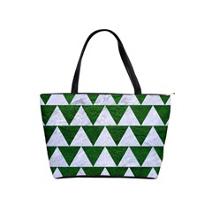 Triangle2 White Marble & Green Leather Shoulder Handbags