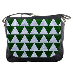 Triangle2 White Marble & Green Leather Messenger Bags