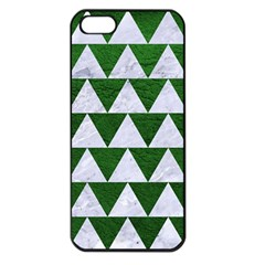 Triangle2 White Marble & Green Leather Apple Iphone 5 Seamless Case (black)