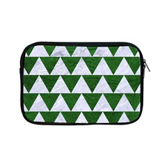 Triangle2 White Marble & Green Leather Apple Ipad Mini Zipper Cases