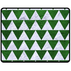 Triangle2 White Marble & Green Leather Double Sided Fleece Blanket (medium)