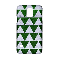 Triangle2 White Marble & Green Leather Samsung Galaxy S5 Hardshell Case  by trendistuff