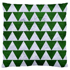 Triangle2 White Marble & Green Leather Large Flano Cushion Case (one Side)