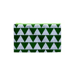 Triangle2 White Marble & Green Leather Cosmetic Bag (xs)