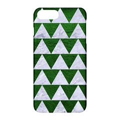 Triangle2 White Marble & Green Leather Apple Iphone 8 Plus Hardshell Case