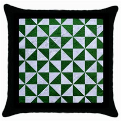 Triangle1 White Marble & Green Leather Throw Pillow Case (black)