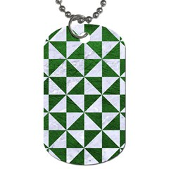 Triangle1 White Marble & Green Leather Dog Tag (two Sides)