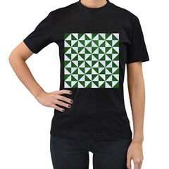 Triangle1 White Marble & Green Leather Women s T Shirt (black)