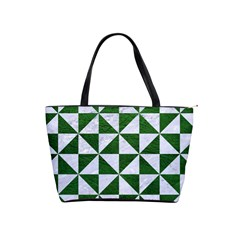 Triangle1 White Marble & Green Leather Shoulder Handbags
