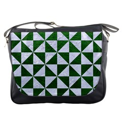 Triangle1 White Marble & Green Leather Messenger Bags