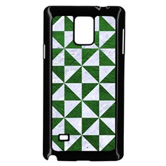 Triangle1 White Marble & Green Leather Samsung Galaxy Note 4 Case (black)