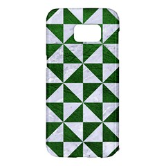 Triangle1 White Marble & Green Leather Samsung Galaxy S7 Edge Hardshell Case