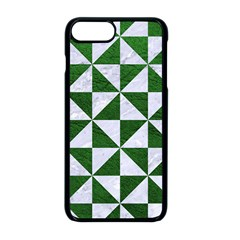 Triangle1 White Marble & Green Leather Apple Iphone 8 Plus Seamless Case (black)