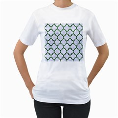 Tile1 (r) White Marble & Green Leather Women s T Shirt (white) (two Sided)