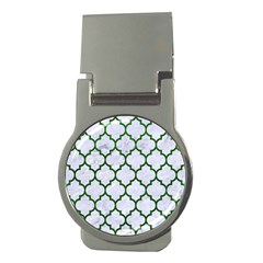 Tile1 (r) White Marble & Green Leather Money Clips (round)